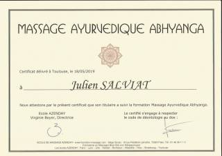 Certification Massage Ayurvédique Toulouse 2019